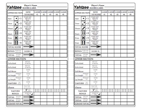 printable yahtzee score card here s a printable set of yahtzee score cards with a row