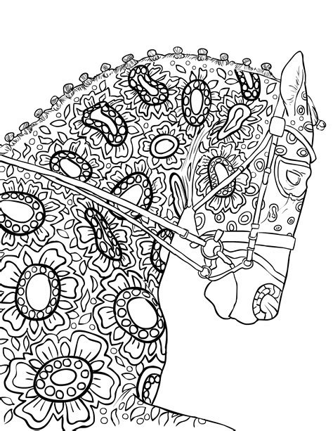 coloring book for adults my own world coloring book page beautiful stallion for