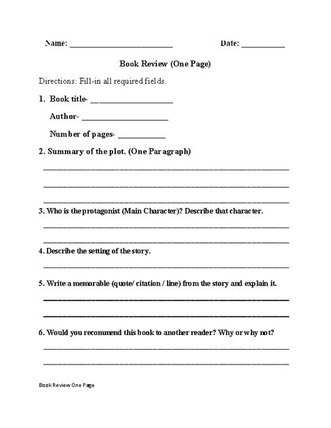 one page book report template book report worksheets one page book review worksheet