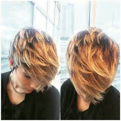 layered hair color ideas pixie crop haircut with front hair bangs in golden