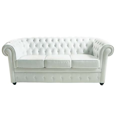 White Chesterfield Sofa 3 Seater Leather Button Sofa In White Chesterfield Maisons Du Monde
