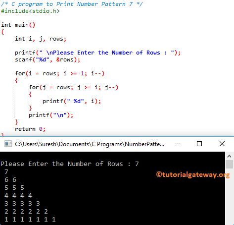 number pattern in c programming c program to print number pattern 7
