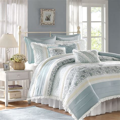 chic blue lace 9pc queen comforter set french cottage