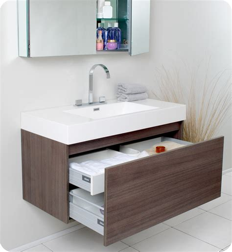 Bath Vanities San Diego 39 Quot Mezzo Single Vanity With Mirror Gray Oak Fvn8010go