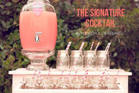 wedding reception drinks signature cocktail