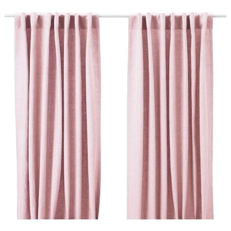 Pink Linen Curtains Ikea Aina Pair Of Curtains Linen Drapes 2 Panels 98 Light Pink Pink Roses Linens And Lights
