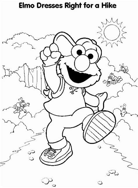 elmo fall coloring pages elmo coloring page elmo hiking all kids network