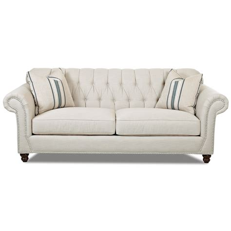 Traditional Sofa With Button Tufted Back And Rolled Arms Tufted Back Sofa