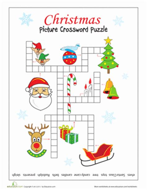 christmas picture crossword worksheet education com