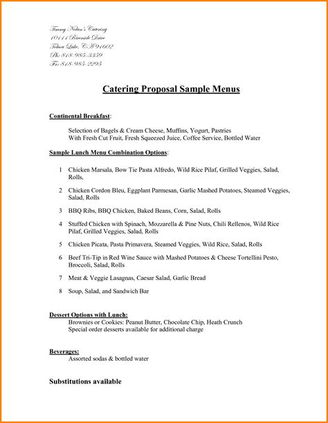 catering proposal sle it resume cover letter sle