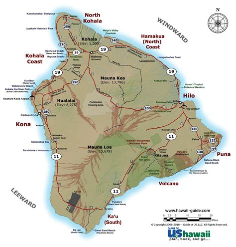 map of hi big island of hawaii maps