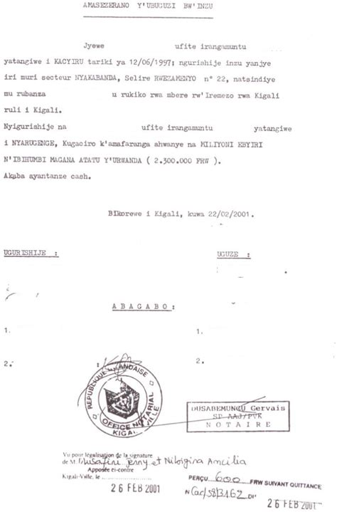 Notarized Letter Of Agreement Business Procedures In Rwanda