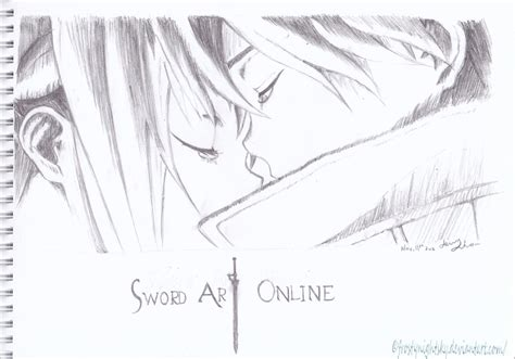 Sketch Online kirito and asuna sword art online pencil sketch by