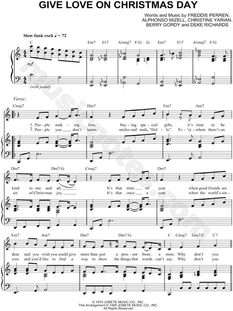 the temptations quot give love on christmas day quot sheet music