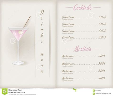 cocktail list template drink menu template stock vector image 40971475