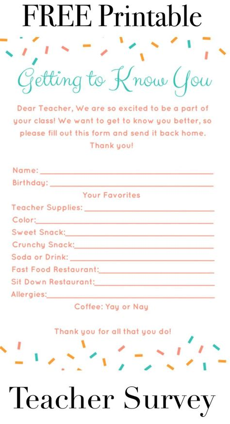 printable student questionnaire 25 best ideas about teacher survey on pinterest teacher