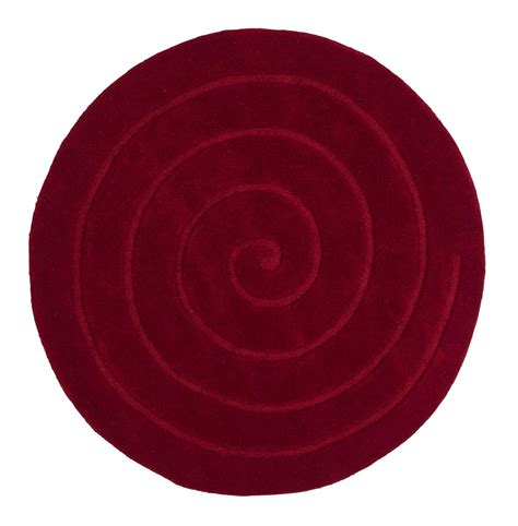 Spiral Red Circle Rug Contemporary Luxury Wool Circular Rugs Circle Rugs