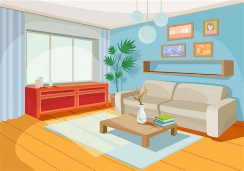 living room cartoon vector illustration of a cozy cartoon interior of a home