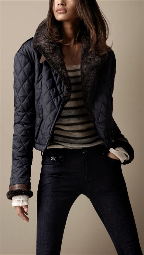 burberry brit shearling quilted bomber jacket in blue