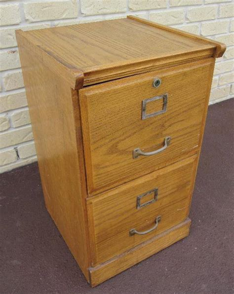 OLD Vintage OAK WOODEN Timber Two DRAWER FILING CABINET