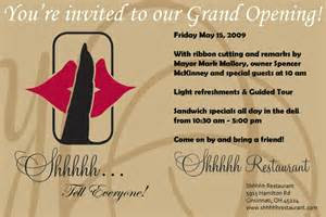 Invitation Letter Grand Opening Restaurant Grand Opening Invitation For Shhhhh Restaurant Friday May 15