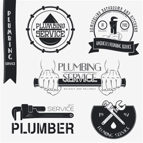 Vector Plumber Service Logos With Labels Design 01 Vector Label Free Download Free Plumbing Logo Templates