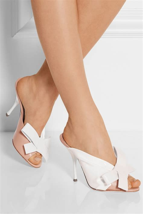 lyst miu miu bow embellished leather  patent leather mules  white