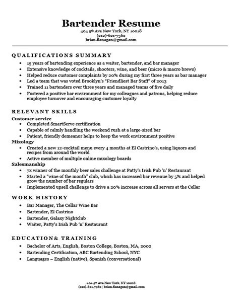 Resume Overview Exles by 16953 Exles Of Bartending Resumes Bartender Resume Exle