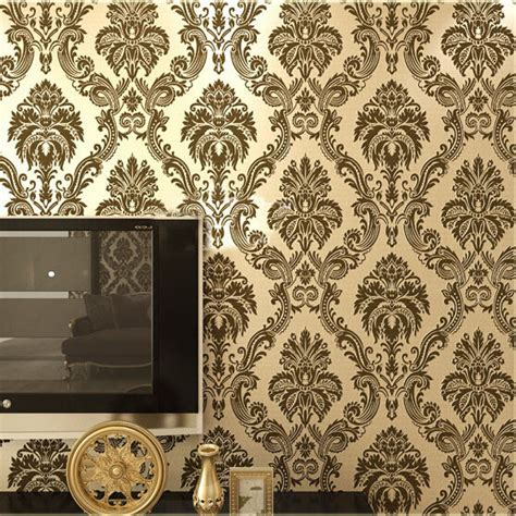 black damask wallpaper home decor european damask wallpaper pvc flocking floral wall paper