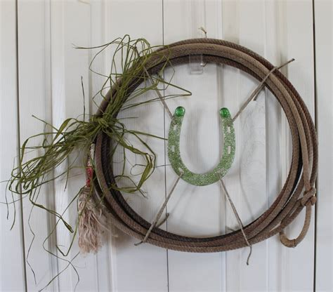 western rope wreath lucky horseshoe with raffia bow wreath