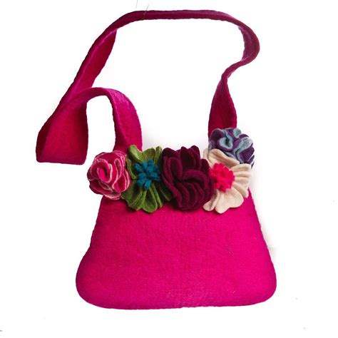 Handmade Felt Bags - handmade felt pink bag removable brooches by felt so