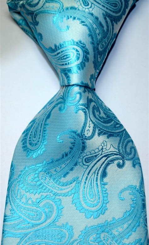 Blus Jaquard Blus Natal Mewah new classic paisley turquoise blue jacquard woven silk s tie necktie 189 in ties