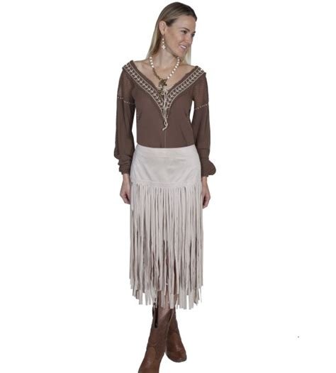 hairstyle on western long skirt images western style long fringe skirt in ivory by scully leather