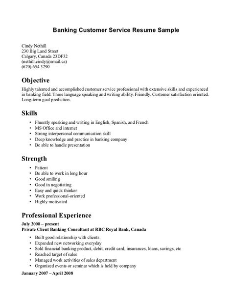 Sle Of Cover Letter For Banking by Banking Resume Sle Banking Resume Sle 5 Band