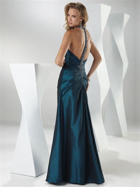 dresses with drapes dark navy mermaid halter sweetheart open back full length