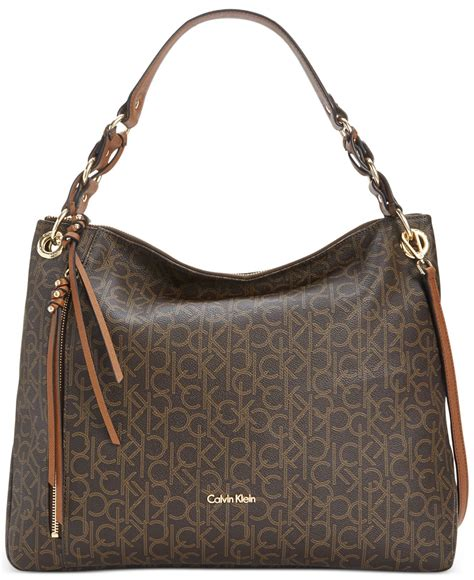 lyst calvin klein monogram hobo  brown