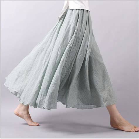 comfortable skirts cotton linen comfortable elastic waist maxi skirt women
