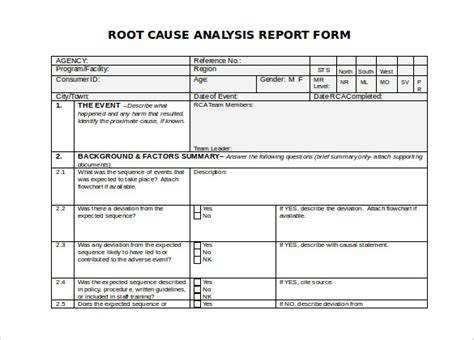 template root cause analysis template word root cause analysis