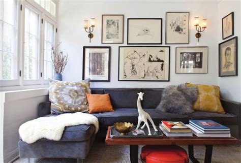 blue sectional vintage living room house  honey