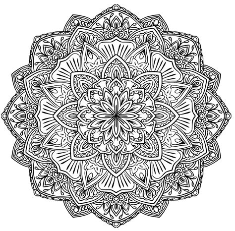 difficult mandala coloring pages printable mandala to download flower of happiness difficult