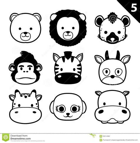 Safira Whity flat animal faces monochrome icon vector set 5