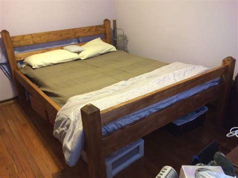 diy size platform bed frame from 2x6 2x4 pine and