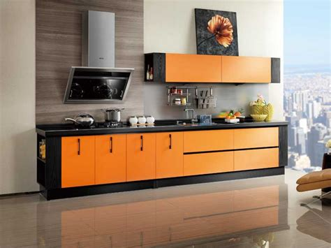oppein kitchen cabinets laminate series orange kitchen