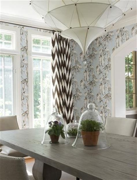 Light Blue Dining Room Light Blue And Brown Dining Area With Wallpaper And Contrasting Chevron Curtains The Dining