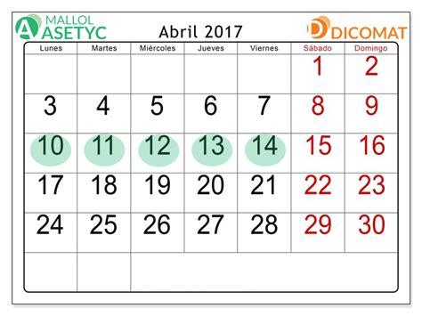 Calendario Semana Santa 2017 Cierre Semana Santa 2017 Dicomat