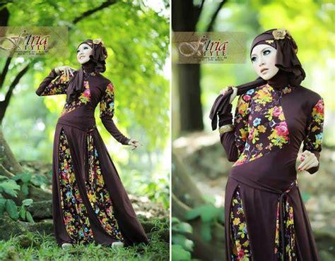 P N Fashion Gamis 0817 Coklat baju muslim gaya syadifa coklat ready now