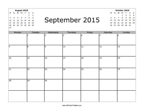 printable monthly planner 2015 september september 2015 calendar free printable