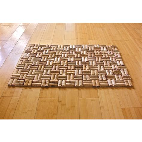 upcycled wine cork bath mat with weave pattern