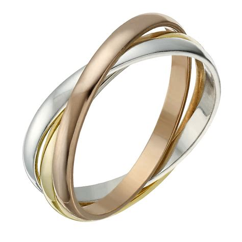 9ct gold 2mm 3 colour russian wedding ring h samuel