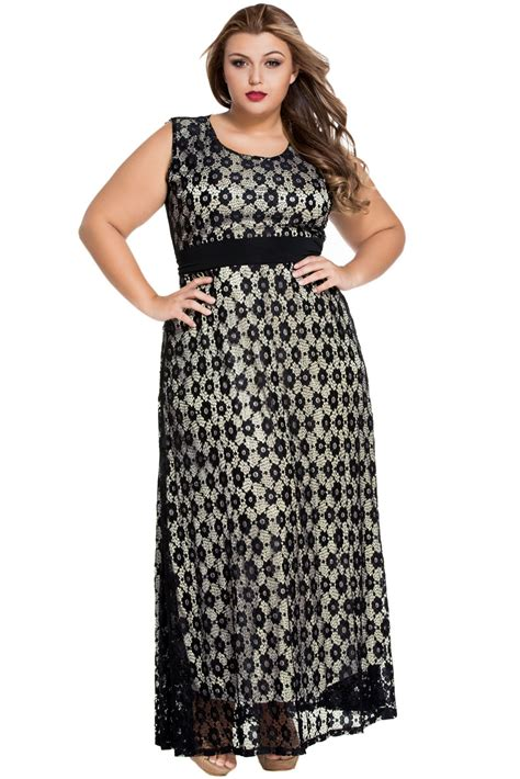 Maxi Lace Flowery black flowery lace overlay belted curvy maxi dress site